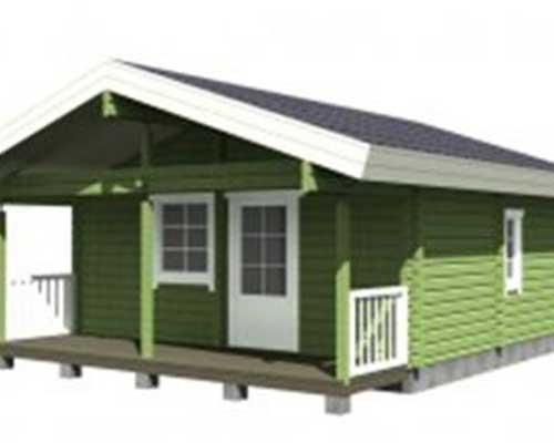 una casa in legno di color verde con le porte di color bianco