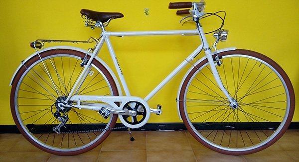 Bicicletta di paseo bianca con luci e protettore della catena
