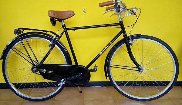 Bicicletta di paseo nera con sellino di cuoio, luci e protettore della catena
