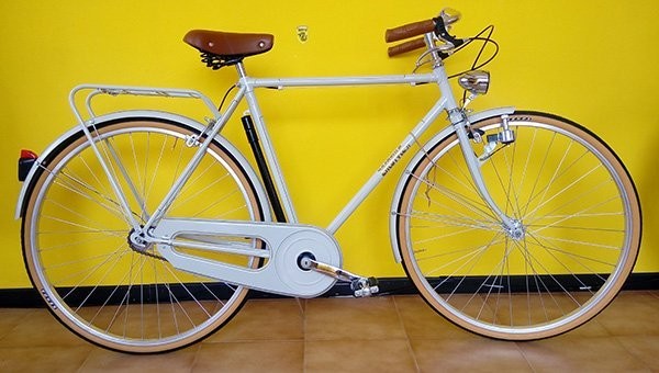 Bicicletta di uomo di colore bianco, luci ,sellino di cuoio e protettore della catena