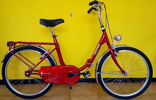 Bicicletta rossa di donna con luce anteriore, porta paniere e protettore della catena