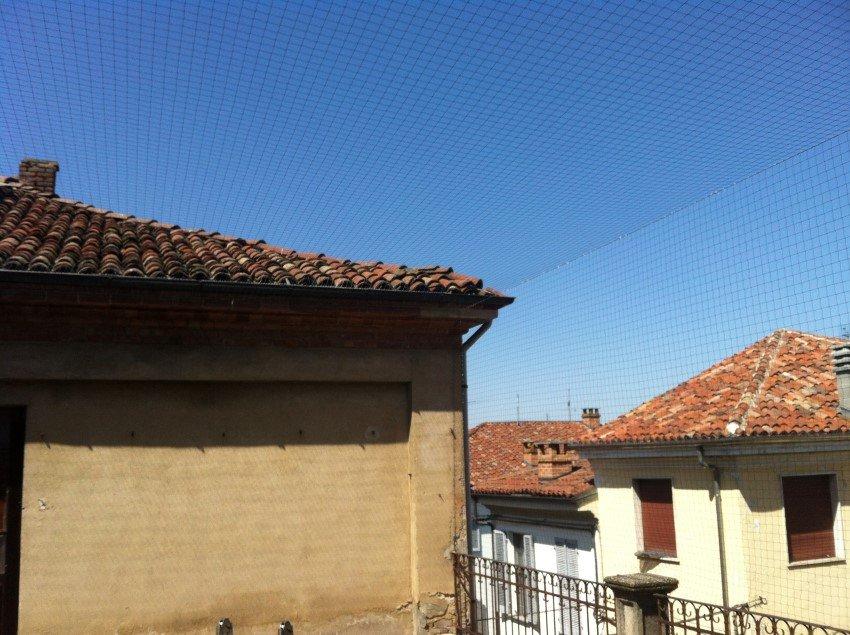 rete antintrusione per piccioni e volatili su tetto