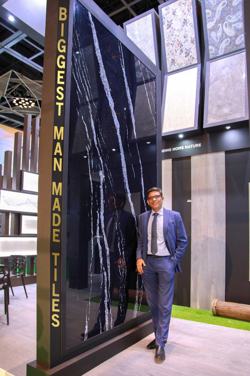 Venkatesan Sethuraman Stands Next To The Record Setting Tile Milano A Brand Owned