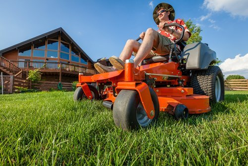Mowing grass in Rochester, MN