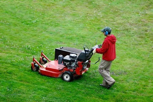 Mowing the lawn in Rochester, MN