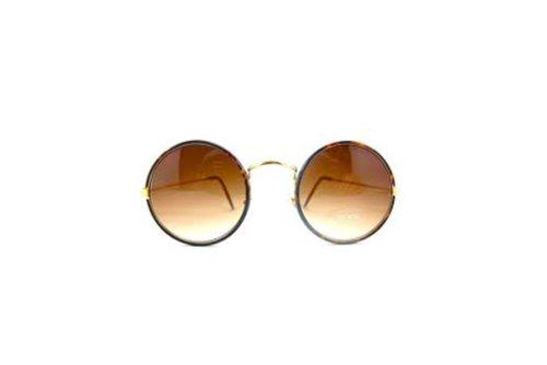 occhiali da sole tondi con lenti dorate