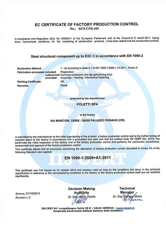 certificato poletti