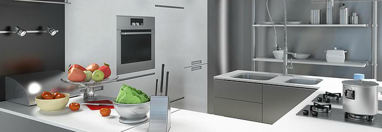 bancone di una cucina moderna industriale in acciaio con frutta e verdure