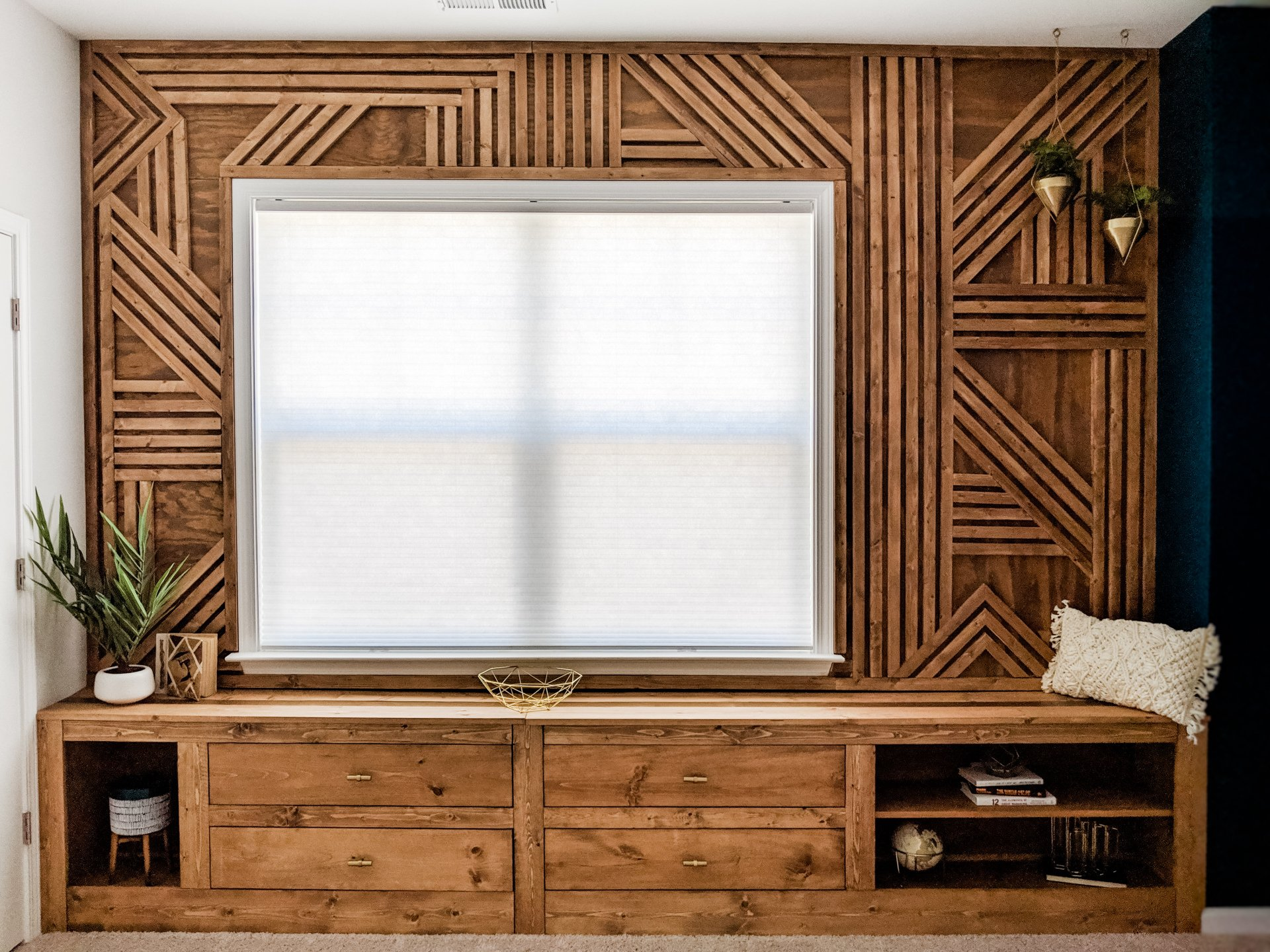 How To Make A Feature Wall Diy Geometric Wood Accent Wall