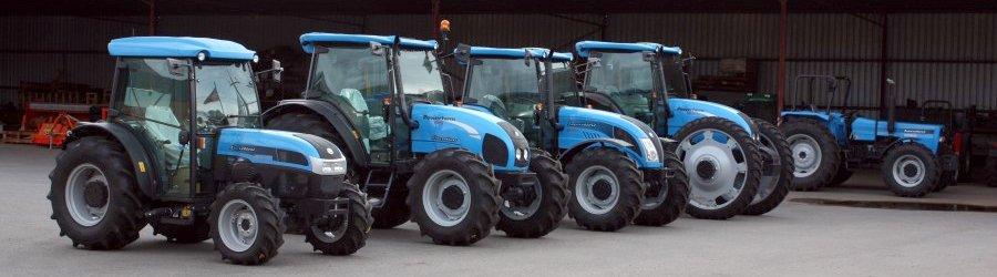 View of farm tractors