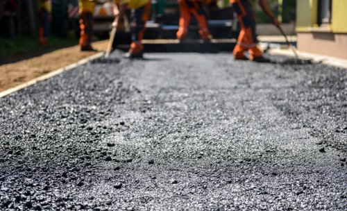The top layer of asphalt road