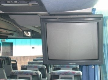 Bus fitted with television