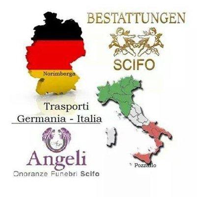 banner promozionale onoranze funebri con sedi in Italia e Germania