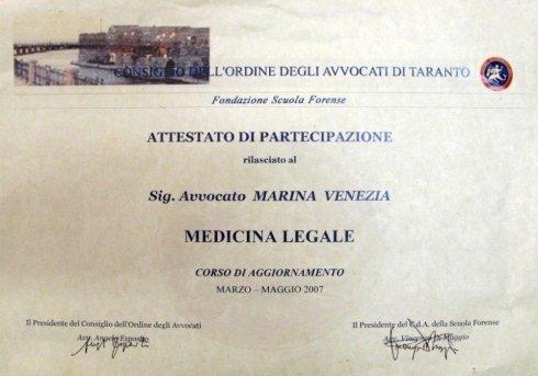 Corso di aggiornamento in Medicina Legale
