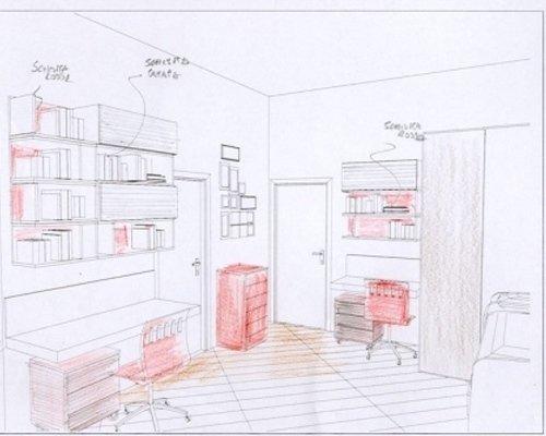 Progetto camera con complementi rossi