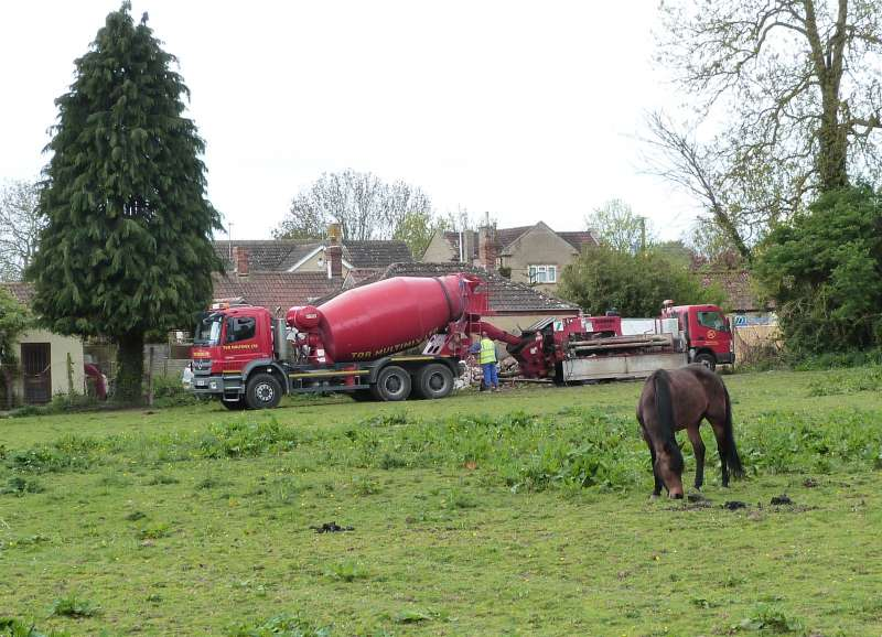 concrete mixer on lawn