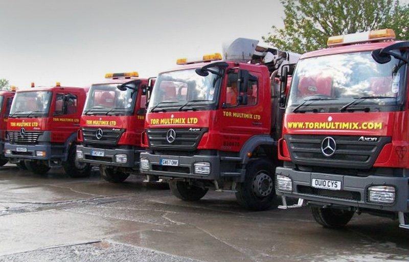 fleet of cement mixers