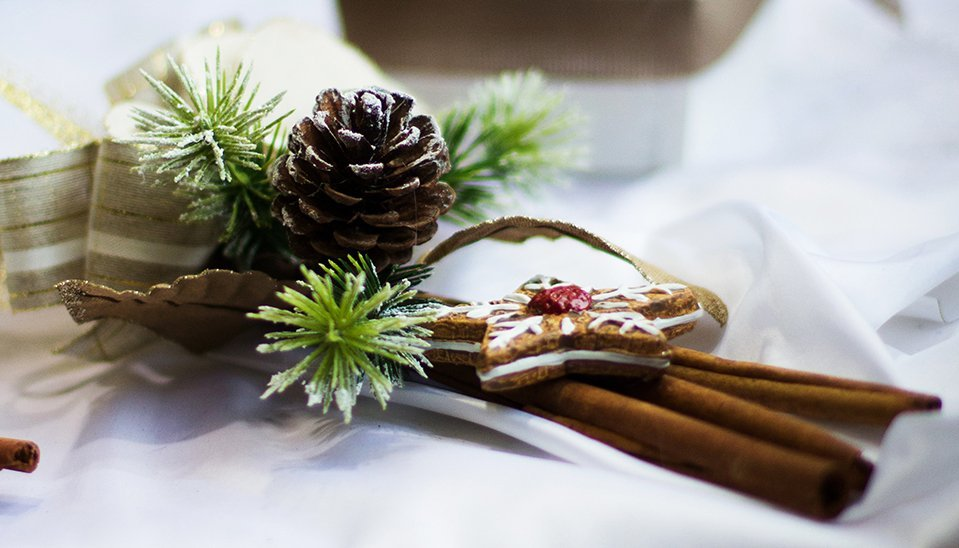 Ornamento di Natale con foglie di pino, pigna,barre di cannella e biscotto di natale