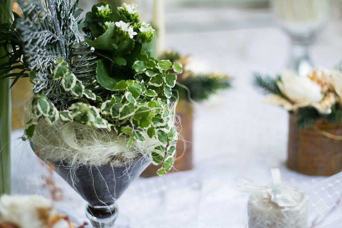 Vaso con composizione verde
