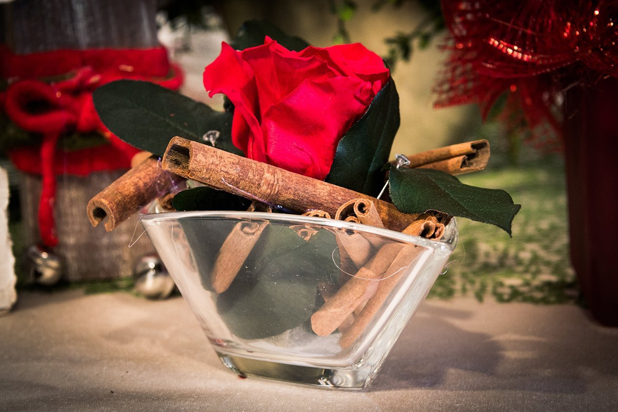 Piccola ciotola di vetro con legno, foglie verdi e una rosa rossa