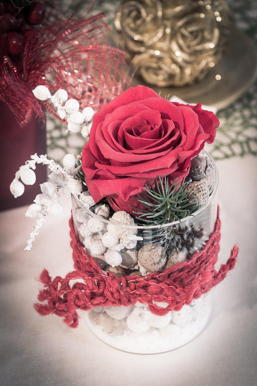 Vaso con rosa rossa, foglie di pino, nocciole e un laccio rosso