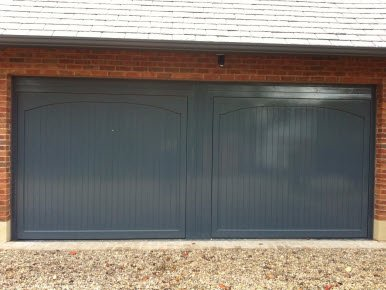 double grey garage door