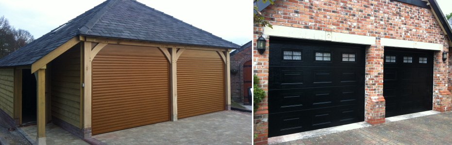 wooden garage and black door