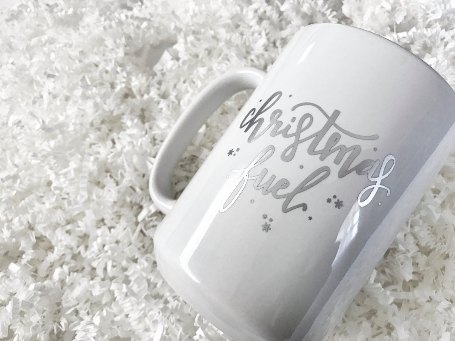 Christmas Fuel Hand-Lettered Gold & Silver Foil  on White Coffee Cup 15oz