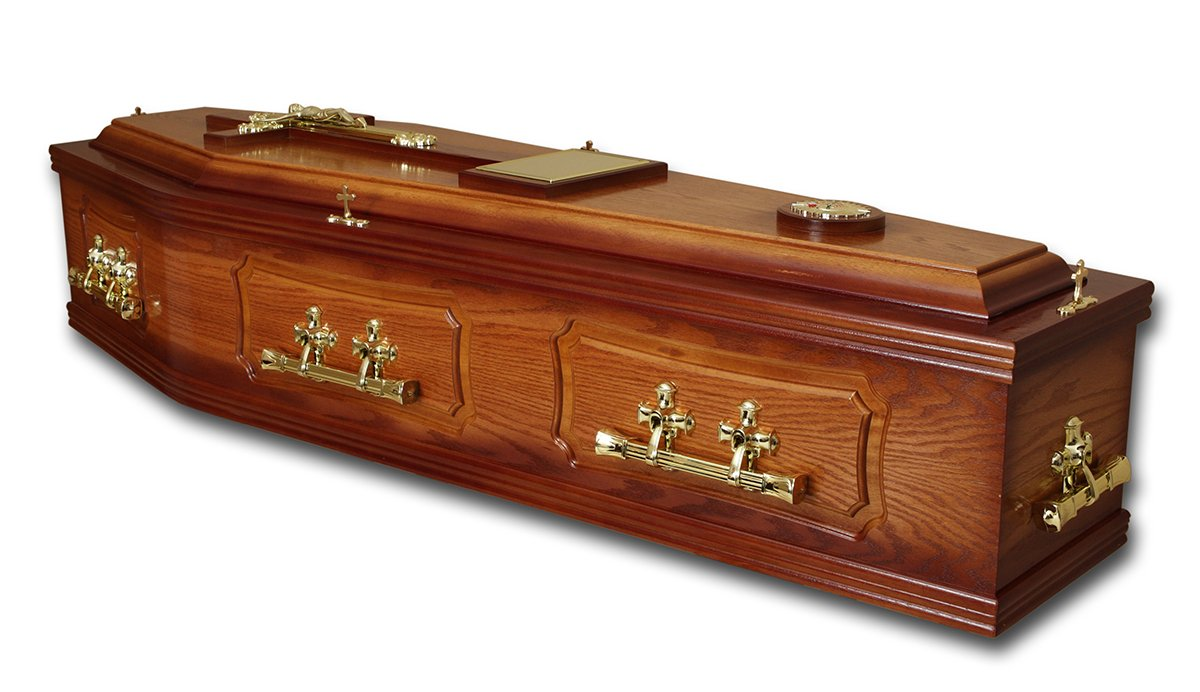 Mahogany wood coffins with brass handles