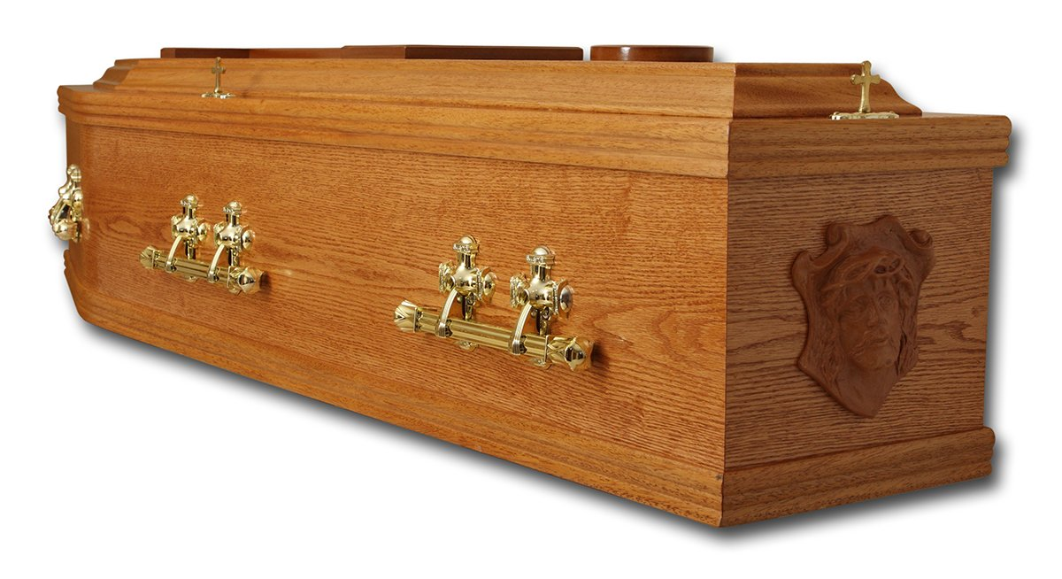 Coffin with brass handles