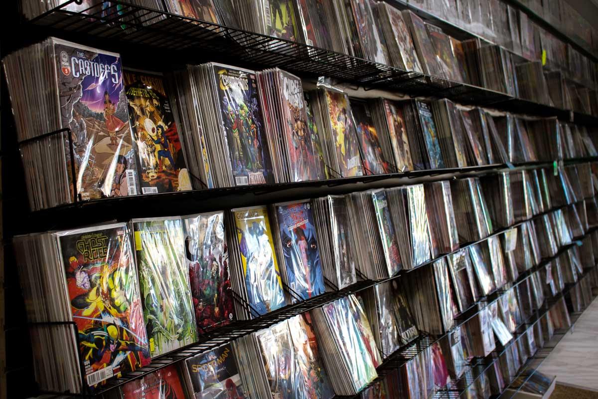 A full rack of comic books.