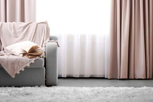 Long white window curtain