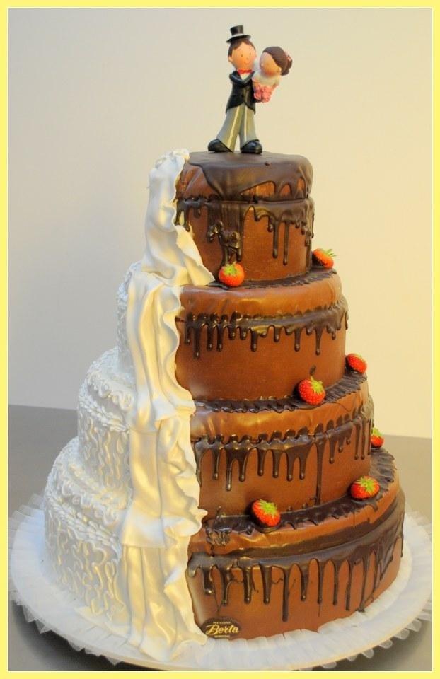 torta nuziale panna e cioccolato