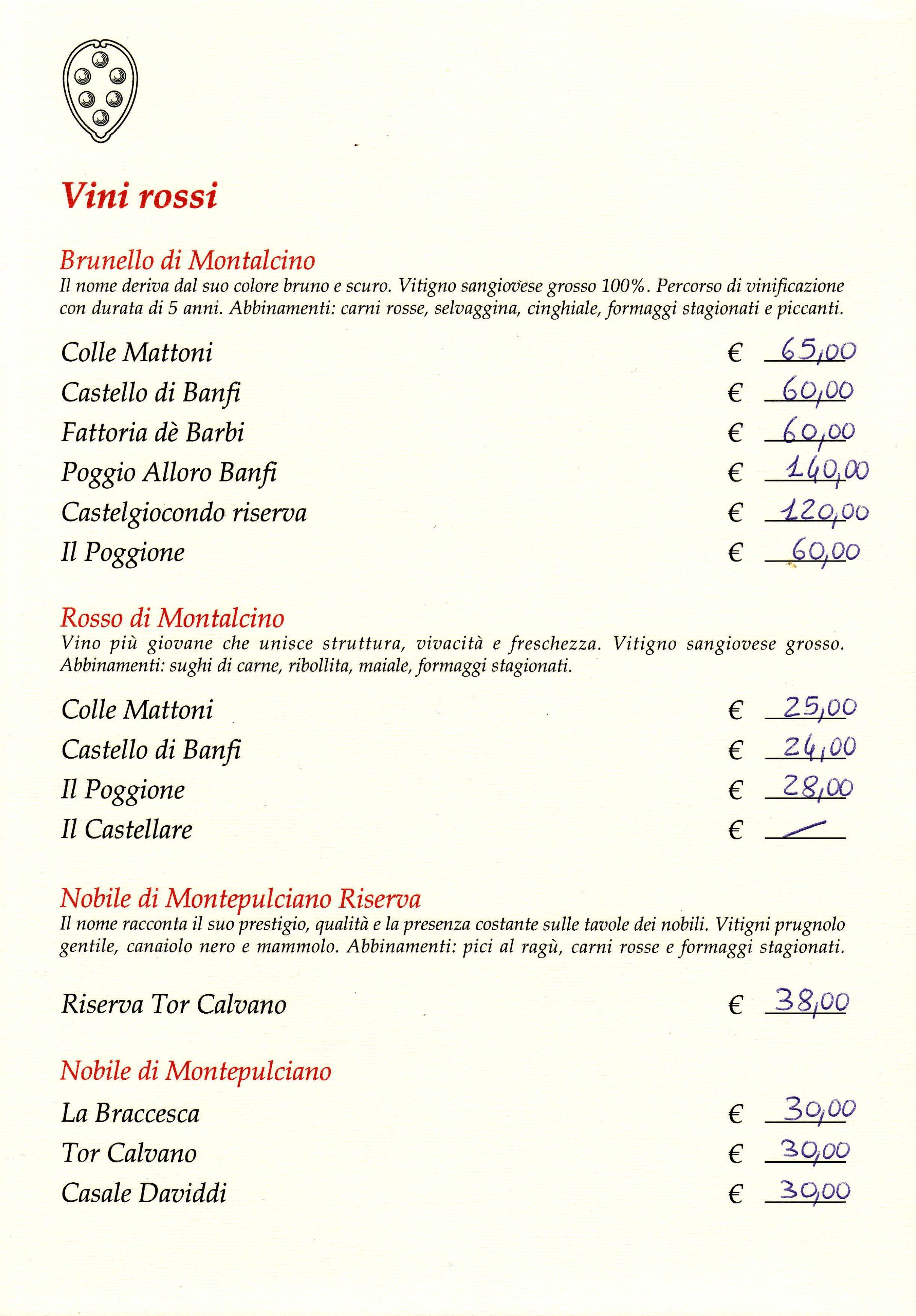 carta dei vini - ristorante cosimo dei medici