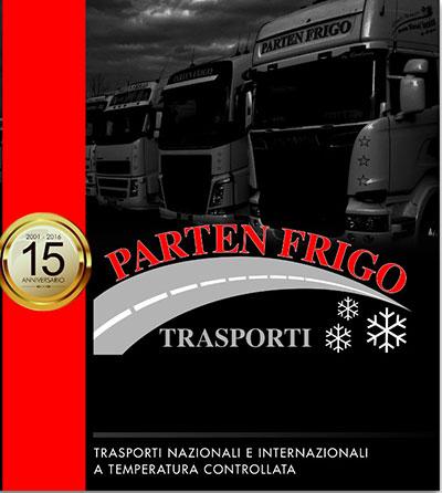 un'immagine di un volantino raffigurante dei camion e la scritta Parten Frigo Trasporti