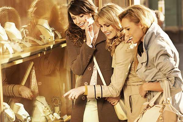women shopping jewelries