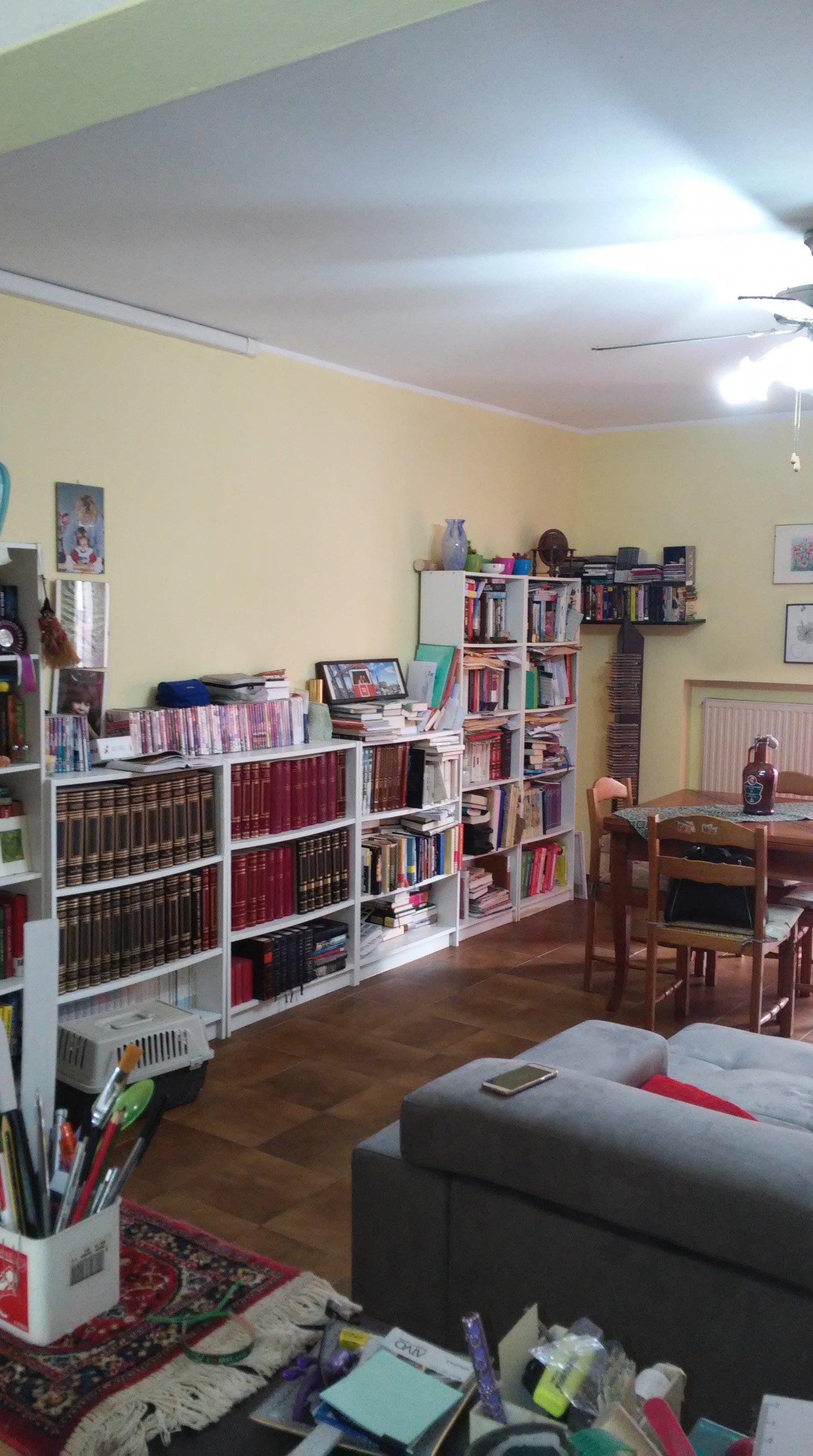 scaffali pieni di libri in salotto