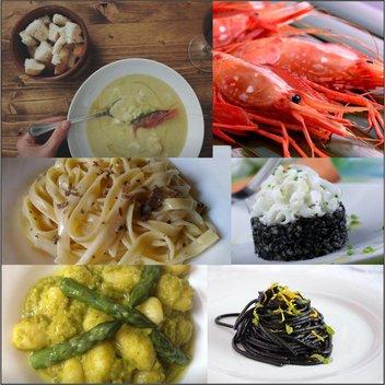 Cartello sei in uno mostrando un piatto di minestra,frutti di mare,pasta e dessert