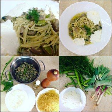 Cartello quattro a uno, due piatti di pasta e due di riso cosi come erbe fresche per la loro preparazione