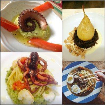 Cartello quattro a uno, due piatti per i polpi ,uno maccheroni cinesi e un dessert di pere al forno