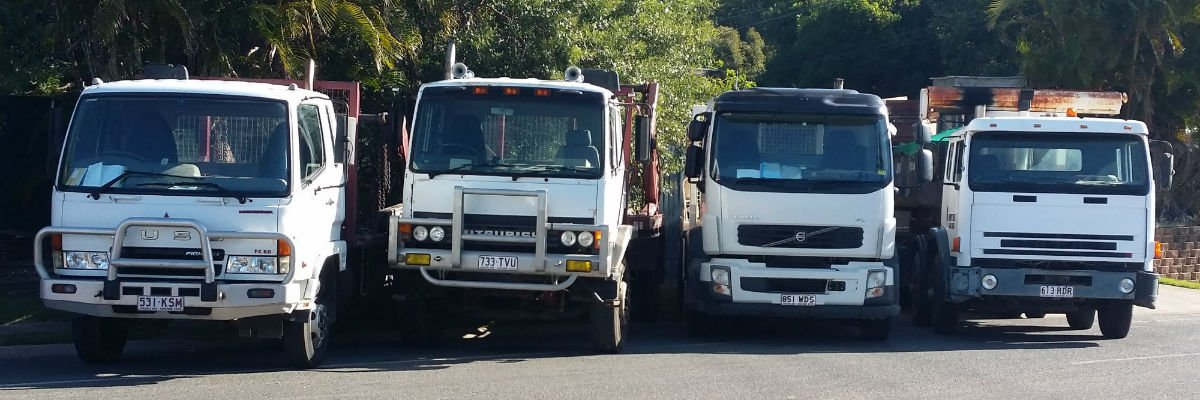 Some of our Dumpit Trucks in Bribie Island.