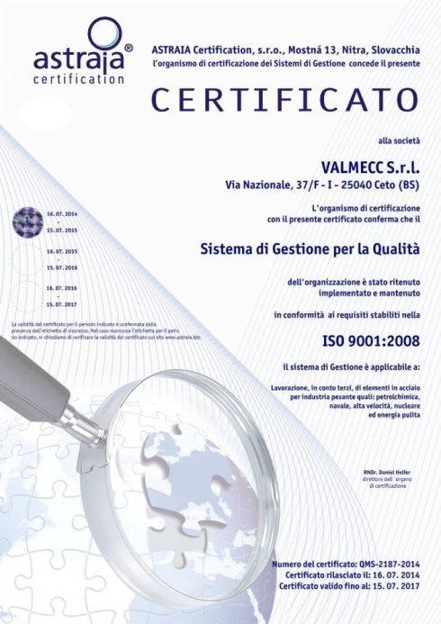 Certificazione aziendale, sistema qualità, iso:9001