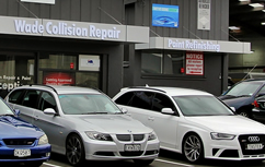 Cars after repair parked outside our shop in Hamilton, NZ