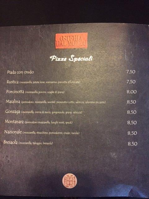 Pizze Speciali Osteria Dal Mozzo a Marcaria (MN)