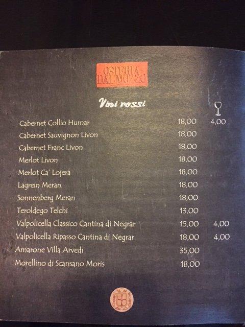 Vini Rossi Osteria Dal Mozzo a Marcaria (MN)