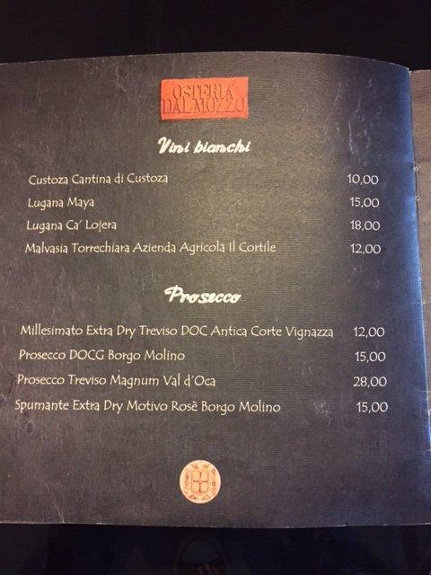 Vini Bianchi e Prosecco Osteria Dal Mozzo a Marcaria (MN)