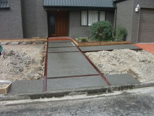 Newly constructed concrete driveway