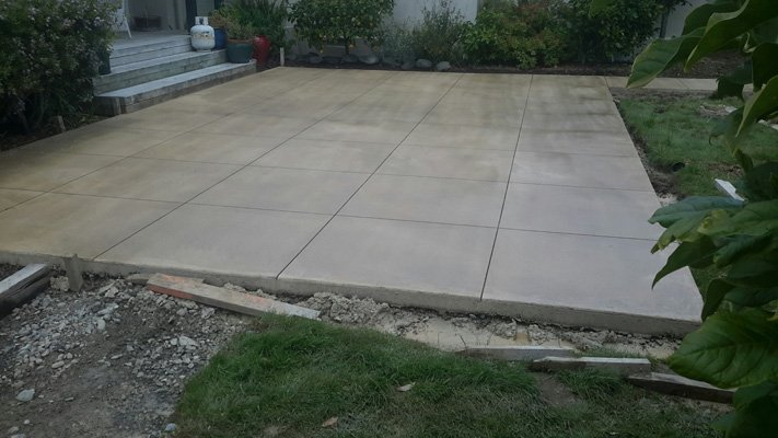View of the stamped concrete flooring