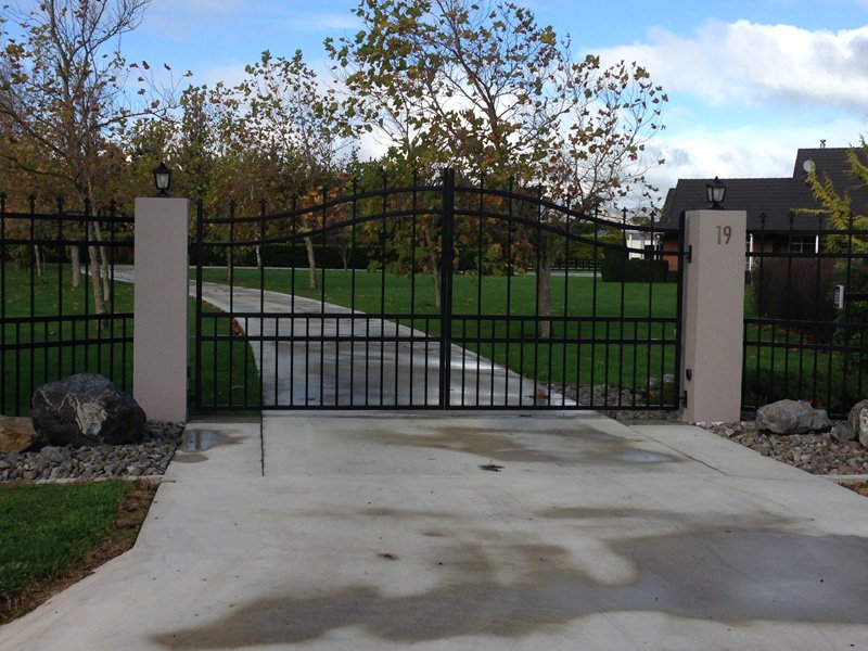 View of the entry gate and fence installed by experts
