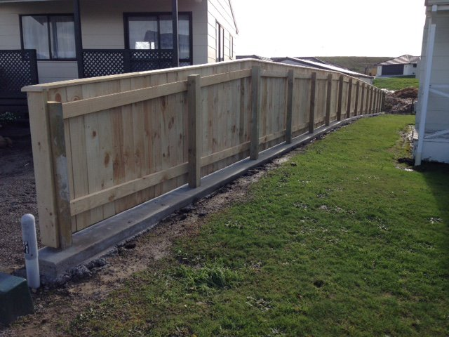 View of a newly installed wooden fence